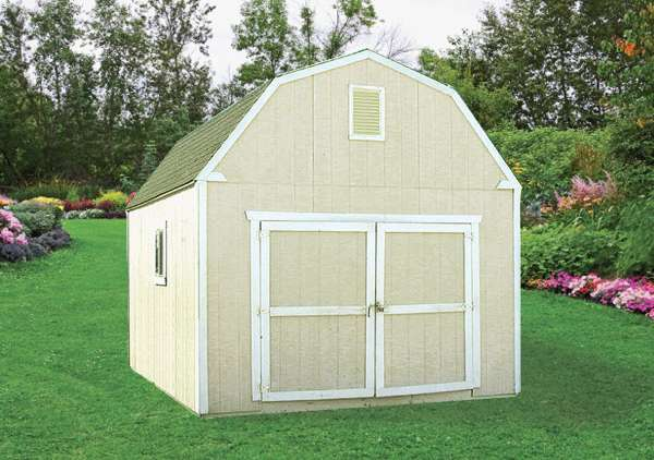 The 12' x 16' YardStar Mini-Barn Shed Package is available from Sutherlands with all the parts and materials you need to build a complete storage shed.