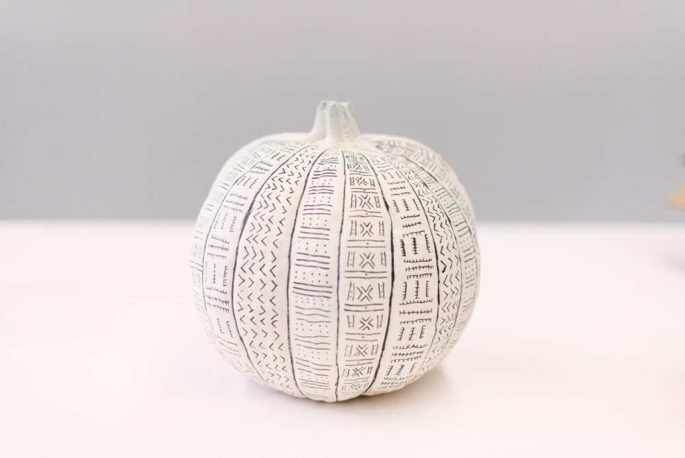 Painted pumpkin with pattens