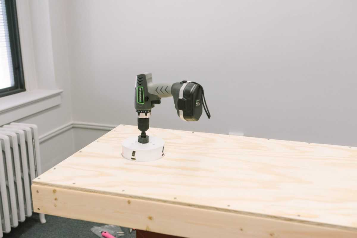 drilling with a hole saw