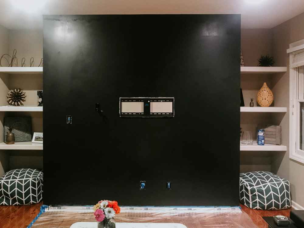 Wall painted black