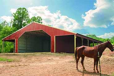 Horse barn packages are available from Sutherlands in customizable sizes and with all the hardware, siding & lumber you need.