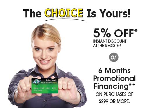 The Sutherlands credit card has Financing options