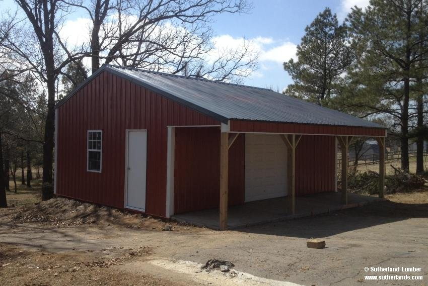 20x26x9 Post Frame Garage With 6ft Porch
