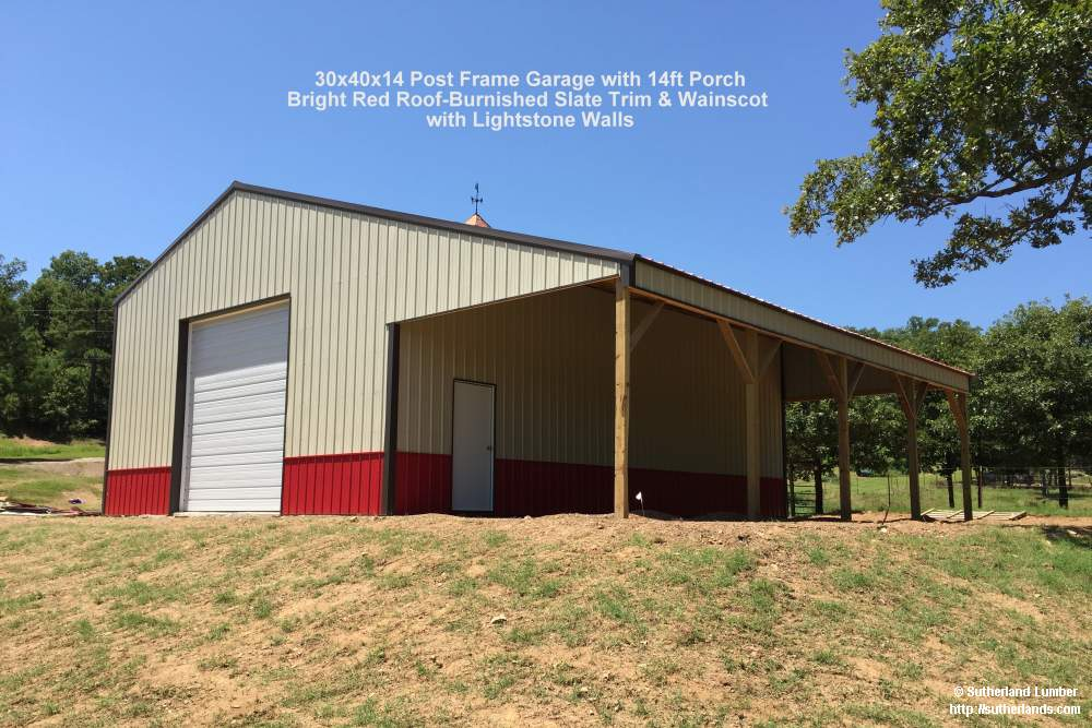 Customer project photo gallery pole barns for Pole barn with porch