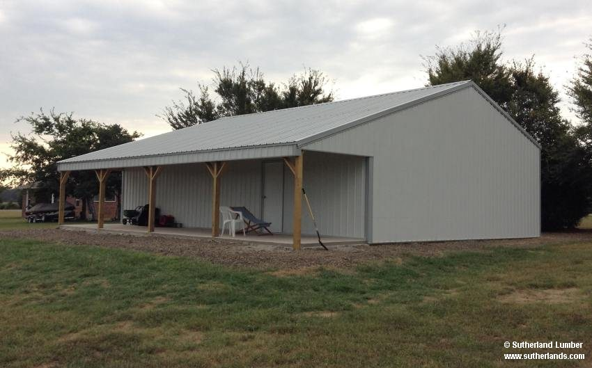 30x40x10 with 8ft porch post frame garage for 50x100 garage
