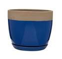 9-Inch Navy Blue Ana Ceramic Planter