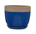 13-Inch Navy Blue Ana Ceramic Planter