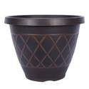 13-Inch Brown Round Lacis Planter With Gold Brush