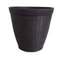 15-Inch Dark Coffee Round Jamaica Wicker Resin Planter