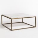 Beckett Antique Brass & Cloud Marble Coffee Table
