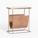 Stanton Tanned Umber & Antique Brass Accent Table