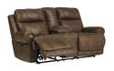 Austere - Brown Double Reclining Loveseat With Console