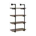 24-Inch Black & Rustic Oak Industrial Wall Shelf