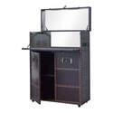 2-Door Dark Brown Upholstered Bar Cabinet