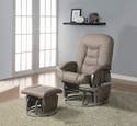 Beige & Silver Push-Back Glider Recliner With Ottoman