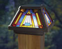 4-Inch X 4-Inch Inglenook Stained Glass Post Cap LED Light
