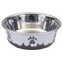 13-Ounce Gray Maslow Non-Skid Paw Design Dog Bowl