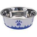 28-Ounce Blue Maslow Non-Skid Paw Design Dog Bowl