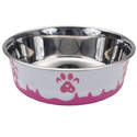 28-Ounce Pink Maslow Non-Skid Paw Design Dog Bowl