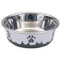 54-Ounce Gray Maslow Non-Skid Paw Design Dog Bowl