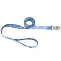 1-Inch X 6-Foot Sublime Teal Stripe Flower Dog Leash