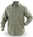 Men's Khaki Long-Sleeve Button-Up Twill Shirt