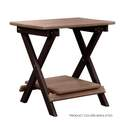 Weathered & Dark Wood Deluxe Folding End Table With Shelf