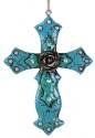 Blue Flower Cross Ornament