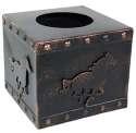 Square Copper Finish Metal Horse Tissue Box