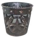 Copper Finish Metal Star Waste Basket