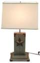 Star On Wood Block Desk Lamp With Shade