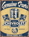 Genuine Chevy Parts Pistons Metal Sign