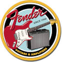 Fender Guitars And Amplifiers Since 1946 Round Tin Sign