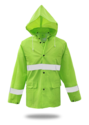 X-Large High-Visibility Green Lined PVC Rain Jacket