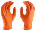 Large Orange Disposable Nitrile Glove With Diamond Grip, 100-Pack Box