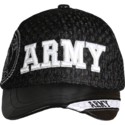 Black Army Leather Brim Cap