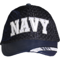 Navy Leather Brim Cap