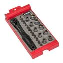 24-Piece 1/4-Inch Drive Compact Bit And Socket Set With Handle And Case
