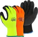Small High-Visibility Orange Knit Gloves With Rubber Palm