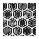 Hexagon Nero Polished Marble Mesh-Mounted Mosaic Tile
