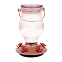 24-Ounce Rose Gold Top-Fill Glass Hummingbird Feeder