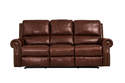 Fudge Leather Dual Power Reclining Sofa With Power Headrest