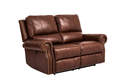 Fudge Leather Dual Power Reclining Love Seat With Power Headrest