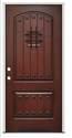 36 x 80 2-Panel RH Prefinished Fiberglass Mahogany Door