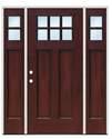 63-1/2 x 82 RH Prefinished Craftsman Fiberglass Mahogany Door With Sidelites