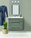 24-Inch Gray 2-Drawer Floating Vanity With Top