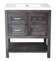 30-Inch Gray 4-Drawer Console Vanity With Top