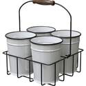 Milkhouse 4 Mini Bucket Planter With Wire Carrier
