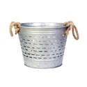 10-Inch Galvanized Olive Bucket With Rope Handles