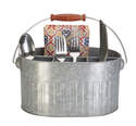 Aged Galvanized Silverware/Planter Caddy